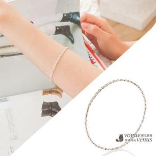 【維克維娜】簡約時尚 編織造型純銀手環