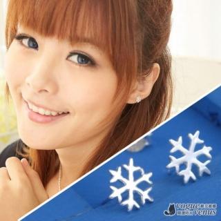 【維克維娜】白色約定 浪漫小雪花貼耳925純銀耳環