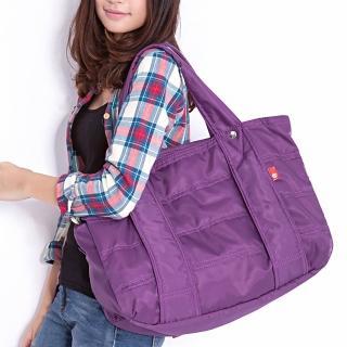 【DF Queenin日韓】日本熱銷款百搭光感尼龍大空間手提肩背旅行包(共8色)