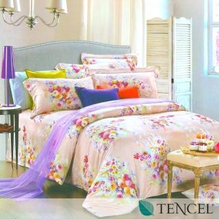 【悠悠繁花】100%奧地利天絲TENCEL四件式兩用被床包組(雙人)
