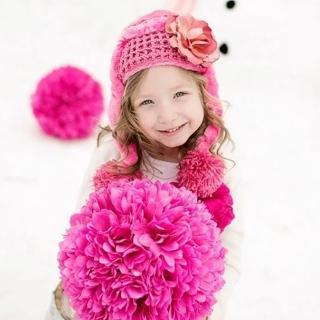 【美國Jamie Rae】女寶寶/女童100%保暖刷毛棉帽_糖果粉保暖棉帽+甜蜜糖果粉玫瑰(JRWHR02)