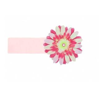 【美國Jamie Rae】女童/女寶寶 100%純棉髮帶_淡粉寬髮帶+粉覆盆子雛菊(JRHBD04)