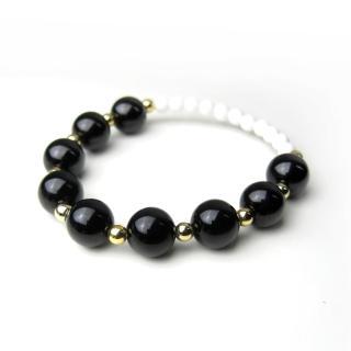 【ZenKi原氣晶品】10mm天然黑碧璽硨磲金點串珠手環