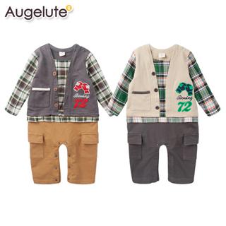 【baby童衣】連身衣 假兩件復古格紋爬服 47012(共二色)