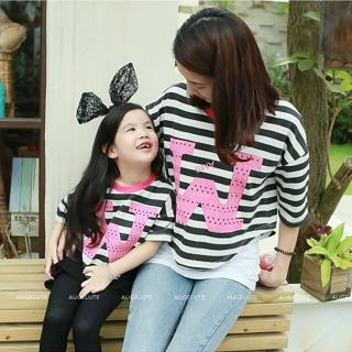 【baby童衣】親子裝 短版條紋洞洞字女童上衣 47105