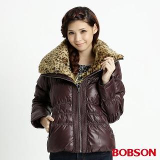 【BOBSON】女款豹紋大領片羽毛外套(咖32099-76)