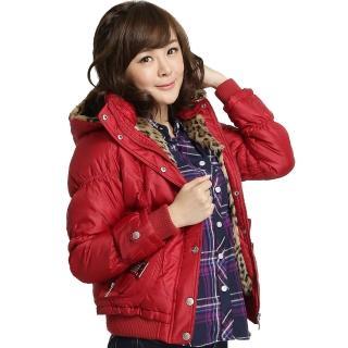 【BOBSON】女款配鑽羽絨外套(紅32111-13)