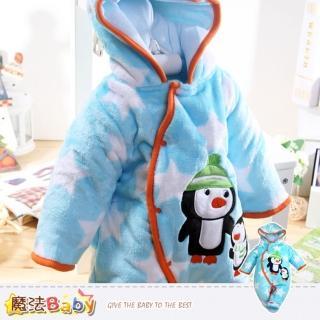 【魔法Baby】加厚鋪棉極暖絲絨連帽腳套嬰兒連身衣(k37760)