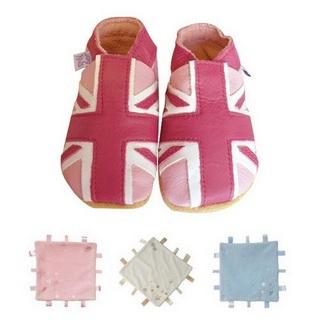 【英國Daisy Roots】英國百年手做全皮革童鞋/彌月禮盒(淡粉紅國旗方巾組)