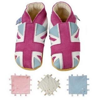 【英國Daisy Roots】英國百年手做全皮革童鞋/彌月禮盒(粉紅國旗方巾組)