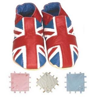 【英國Daisy Roots】英國百年手做全皮革童鞋/彌月禮盒(英國國旗方巾組)