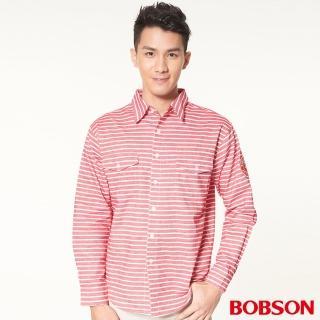【BOBSON】男款刷毛條紋長袖襯衫(紅34004-13)