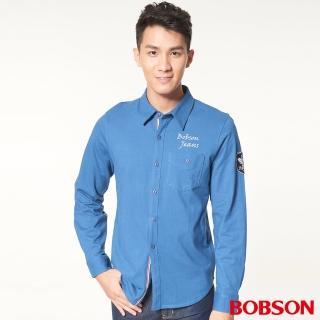 【BOBSON】男款合身版襯衫型針織長袖上衣(藍34006-58)
