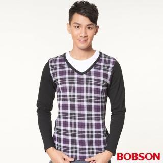 【BOBSON】男款合身版仿兩式長袖上衣(紫34009-63)