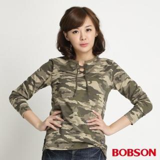 【BOBSON】女款迷彩紋長袖上衣(迷彩34077-42)