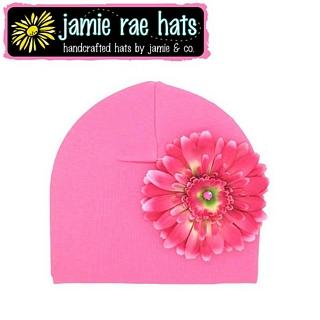 【美國Jamie Rae】100%純棉大花棉帽/嬰兒帽/童帽 - 糖果粉底糖果粉雛菊 款(CDCCCC)