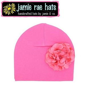 【美國Jamie Rae】100%純棉大花棉帽/嬰兒帽/童帽 - 糖果粉底糖果粉繡球 款(CGCCCC)
