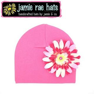 【美國Jamie Rae】100%純棉大花棉帽/嬰兒帽/童帽 - 糖果粉底淡粉覆盆子雛菊 款(CDCCPR)
