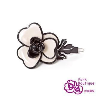 【約克精品】米色玫瑰(手工髮夾 髮飾)