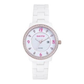 【GOTO】愛情誓約陶瓷腕錶-白x桃(GC0361B-82-2F1)