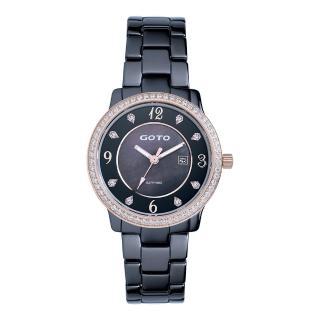 【GOTO】愛情誓約陶瓷腕錶-黑x玫(GC0361B-93-341)