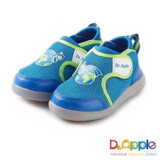 【Dr. Apple 機能童鞋】環遊世界 雙耳式黏扣帶童鞋(水藍)