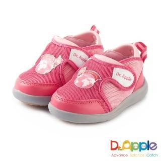 【Dr. Apple 機能童鞋】環遊世界 雙耳式黏扣帶童鞋(桃紅)