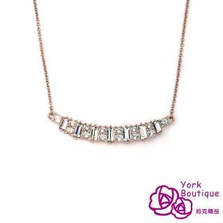 【約克精品】獨家設計施華洛晶鑽包18K玫瑰金項鍊(SGS認證)