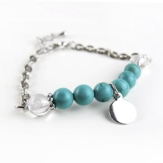 【ZenKi原氣晶品】6mm天然綠松石雙色圓片八珠手鍊