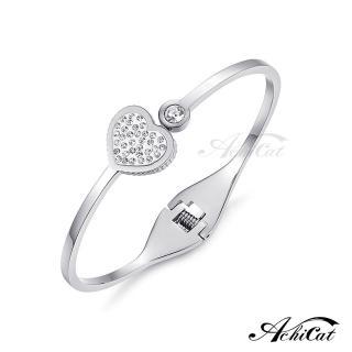 【STEVEN YANG】西德鋼飾「鑲鑽愛心」鋼手環 KB4043(銀色)