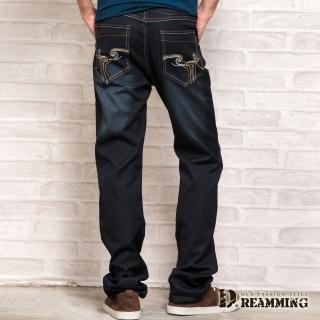 【Dreamming】韓版修身立體圖騰光澤牛仔長褲