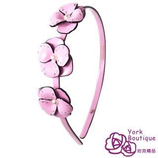 【約克精品】粉紅巴黎花都施華洛元素晶鑽(手工髮箍 髮飾)