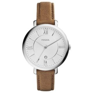 【FOSSIL】網羅質感日期時尚腕錶-白x淺褐皮帶(ES3708)