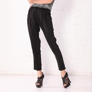【RH】日系鬆緊帶休閒褲加大碼(黑色休閒打摺褲S-M-L)
