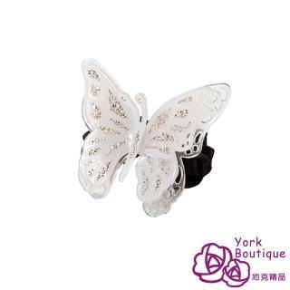 【約克精品】白色雙蝶施華洛元素晶鑽(手工髮圈 髮飾)