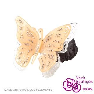 【約克精品】米橘色雙蝶施華洛元素晶鑽(手工髮圈 髮飾)