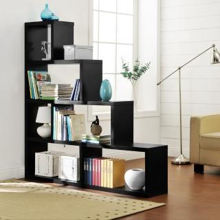【FUN生活】L型多層展示櫃/書櫃/收納櫃/隔間櫃(黑色)