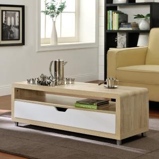 【FUN生活】大抽屜收納茶几桌/邊桌/電視櫃(淺橡+白色)