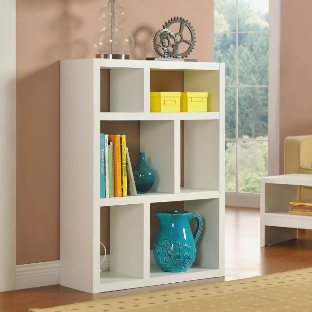 【FUN生活】DIY創意六格展示櫃-書櫃-收納櫃-隔間櫃(白色)
