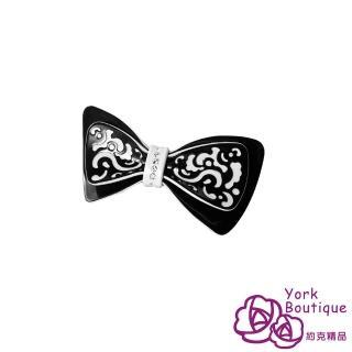 【約克精品】黑色俏皮蝴蝶結施華洛元素晶鑽(手工髮夾 髮飾)
