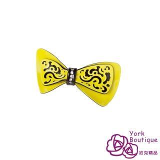 【約克精品】黃色俏皮蝴蝶結施華洛元素晶鑽(手工髮夾 髮飾)