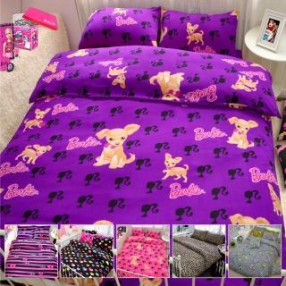 【Barbie X Smiley】《瘋狂大降價》雪芙絨加大雙人床包兩用被套組(16款)