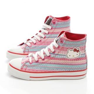 【三麗鷗】Hello Kitty女款經典圖騰中統帆布休閒鞋(914141-粉)