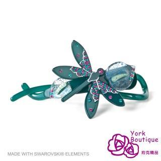 【約克精品】藍色蜻蜓施華洛元素晶鑽(手工交叉髮夾 髮飾)