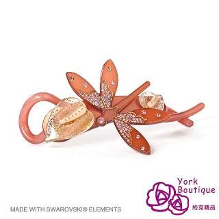 【約克精品】咖啡色蜻蜓施華洛元素晶鑽(手工交叉髮夾 髮飾)