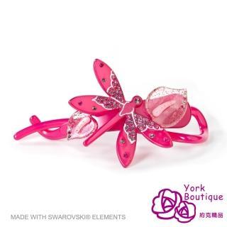【約克精品】玫瑰色蜻蜓施華洛元素晶鑽(手工交叉髮夾 髮飾)