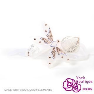 【約克精品】白色蜻蜓施華洛元素晶鑽(手工交叉髮夾 髮飾)