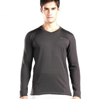 【PUSH!機能面料】POLARTEC+萊卡完美比例頂級運動保暖長袖內衣衛生衣V領款(上衣 男款)