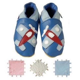 【英國Daisy Roots】英國百年手做全皮革童鞋/彌月禮盒(小飛機方巾組)