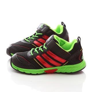 【Adidas】中大童經典魔鬼氈輕量運動鞋(DM20397-黑綠)